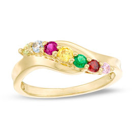 Mother's Genuine Birthstone Wavy Bypass Ring (3-7 Stones)