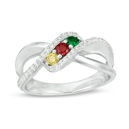 e3bdb9510 Mother's Genuine Birthstone and 1/5 CT. T.W. Diamond Bypass Split Shank Ring  ...