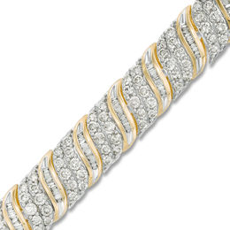10 CT. T.W. Baguette and Round Diamond Wave Bracelet in 10K Gold