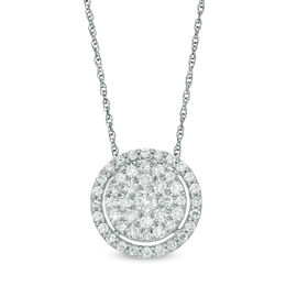 1/2 CT. T.W. Diamond Triple Frame Pendant in 10K White Gold