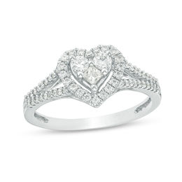 1/2 CT. T.W. Princess-Cut and Round Diamond Heart Frame Ring in 10K White Gold