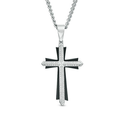 4ee9aecf9310 Men s 1 3 CT. T.W. Diamond Double Row Layered Cross Pendant in Stainless  Steel and Black IP - 24