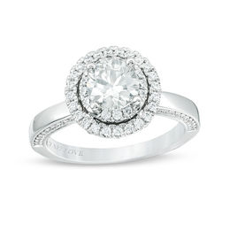 Vera Wang Love Collection 1-1/2 CT. T.W. Certified Diamond Double Frame Engagement Ring in 14K White Gold (I/SI2)