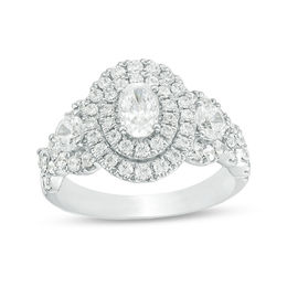 Celebration Grand® 1-3/4 CT. T.W. Oval Diamond Double Frame Twist Engagement Ring in 14K White Gold (I/I1)