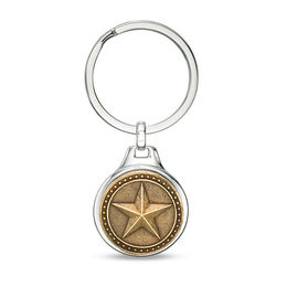 Men's Oxidized Round Bead Frame Barn Star Key Chain in Stainless Steel, Sterling Silver and Bronze