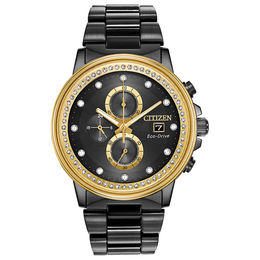 Men's Citizen Eco-Drive® Chandler Crystal Accent Chronograph Black IP Watch with Black Dial (Model: FB3008-57E)