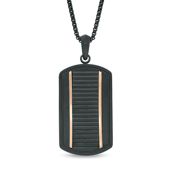 Mens Ribbed Dog Tag Pendant in Two-Tone Stainless Steel - 24""