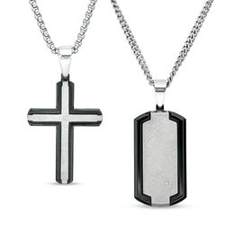 "Men's Diamond Accent Dog Tag and Cross Pendant Set in Stainless Steel and Black IP - 20"" and 24"""