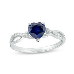 6.0mm Heart-Shaped Lab-Created Blue Sapphire and 1/20 CT. T.W. Diamond Twist Shank Ring in 10K White Gold