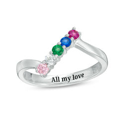 Mother's Birthstone Engravable Bypass Ring (5 Stones and 1 Line)