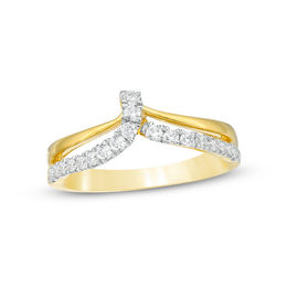 1/3 CT. T.W. Diamond Double Row Chevron Ring in Sterling Silver with 14K Gold Plate