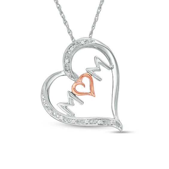 Diamond Accent Mom Tilted Heart Pendant in Sterling Silver and 10K Rose Gold