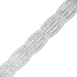 3-7/8 CT. T.W. Baguette and Round Diamond Multi-Row Bracelet in Sterling Silver