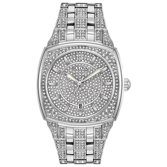 Mens Bulova Phantom Crystal Accent Watch with Square Silver-Tone
