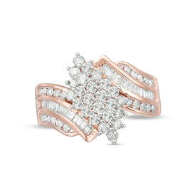 1-1/8 CT. T.W. Composite Diamond Waterfall Ring in 10K Rose Gold