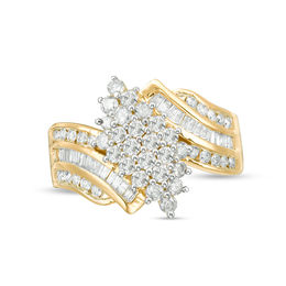 1-1/8 CT. T.W. Composite Diamond Waterfall Ring in 10K Gold