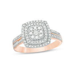 3/8 CT. T.W. Diamond Double Cushion Frame Ring in 10K Rose Gold