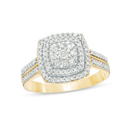 3/8 CT. T.W. Diamond Double Cushion Frame Ring in 10K Gold