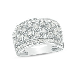 1-1/4 CT. T.W. Diamond Alternating Marquise and Round Art Deco Band in 10K White Gold