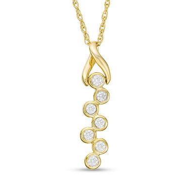 de137731bc40 1 8 CT. T.W. Diamond Twist Bezel-Set Scatter Pendant in 10K Gold ...