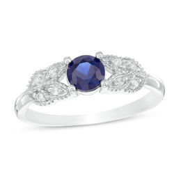 5.0mm Lab-Created Blue Sapphire and 1/20 CT. T.W. Diamond Leaf-Sides Vintage-Style Promise Ring in 10K White Gold