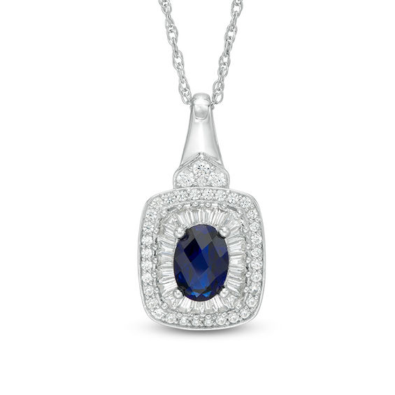 Oval Lab-Created Blue and White Sapphire Cushion Frame Pendant in