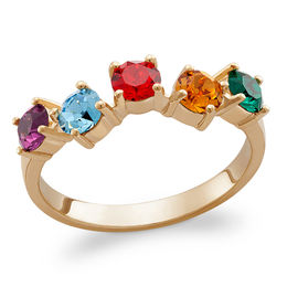 4.0mm Simulated Birthstone Ring in Sterling Silver with 18K Gold Plate (1-5 Stones)