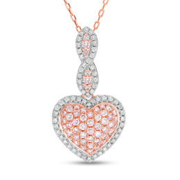 3/4 CT. T.W. Certified Pink and White Composite Diamond Heart Frame Twist Pendant in 14K Rose Gold (Fancy/I2)