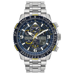 Men's Citizen Eco-Drive® Promaster Blue Angels Skyhawk A-T Chronograph Watch with Blue Dial (Model: JY8078-52L)