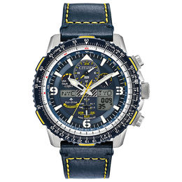 Men's Citizen Eco-Drive® Promaster Blue Angels Skyhawk A-T Chronograph Strap Watch with Blue Dial (Model: JY8078-01L)