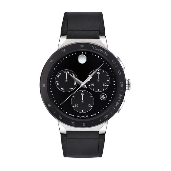 Mens Movado Sapphire Chronograph Strap Watch with Black Dial (Model: 0607240)