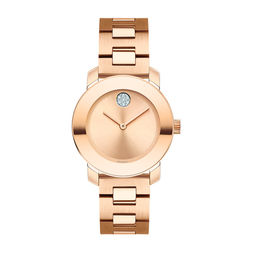 Ladies' Movado Bold® Crystal Accent Rose-Tone IP Watch (Model: 3600550)