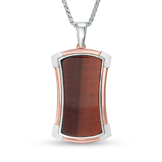 Mens Shaquille ONeal Red Tigers Eye Frame Dog Tag Pendant in Ster