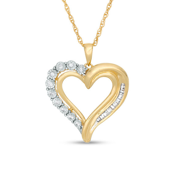1/5 CT. T.w. Diamond Heart Pendant in 10K Gold