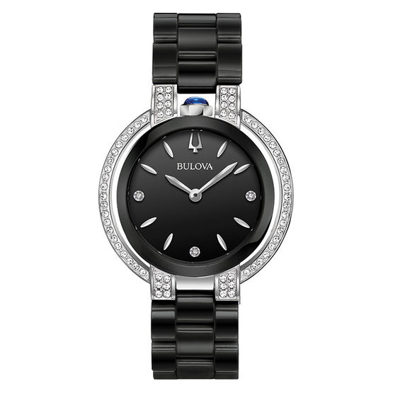 Ladies Bulova Rubaiyat Diamond Accent Black Ceramic Watch with Black Dial (Model: 98R266)