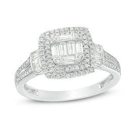 5/8 CT. T.W. Composite Diamond Double Cushion Frame Collar Engagement Ring in 10K White Gold