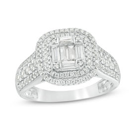 1 CT. T.W. Composite Diamond Double Cushion Frame Multi-Row Engagement Ring in 10K White Gold