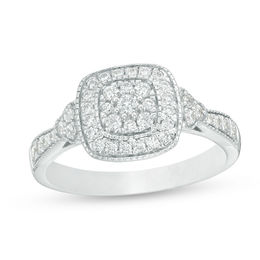 1/2 CT. T.W. Composite Diamond Cushion Frame Tri-Sides Vintage-Style Engagement Ring in 10K White Gold