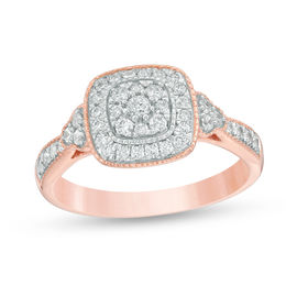 1/2 CT. T.W. Composite Diamond Cushion Frame Tri-Sides Vintage-Style Engagement Ring in 10K Rose Gold