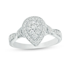 1/2 CT. T.W. Composite Diamond Double Pear-Shaped Frame Vintage-Style Engagement Ring in 10K White Gold