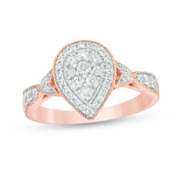 1/2 CT. T.W. Composite Diamond Double Pear-Shaped Frame Vintage-Style Engagement Ring in 10K Rose Gold