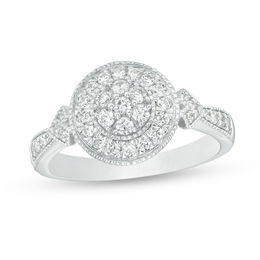 1/2 CT. T.W. Composite Diamond Frame Tri-Sides Vintage-Style Engagement Ring in 10K White Gold