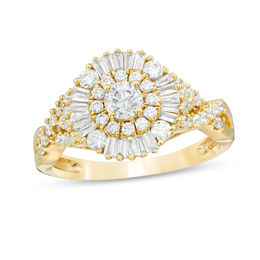 1 CT. T.W. Baguette and Round Diamond Sunburst Frame Tri-Sides Engagement Ring in 14K Gold