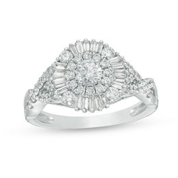 1 CT. T.W. Baguette and Round Diamond Sunburst Frame Tri-Sides Engagement Ring in 14K White Gold
