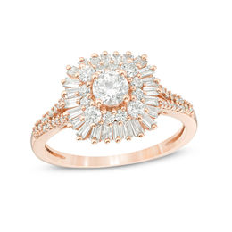 1 CT. T.W.  Baguette and Round Diamond Starburst Frame  Ring in 14K Rose Gold