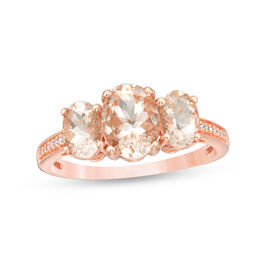 Oval Morganite and 1/20 CT. T.W. Diamond Three Stone Ring in 10K Rose Gold