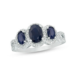 Oval Blue Sapphire and 1/5 CT. T.W. Diamond Frame Twist Shank Ring in Sterling Silver