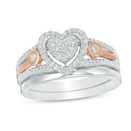 1/3 CT. T.W. Composite Diamond Heart Bridal Set in Sterling Silver and 10K Rose Gold