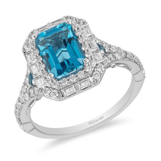 14Kt Gold London Blue Topaz /& Diamond Princess Cut Ring