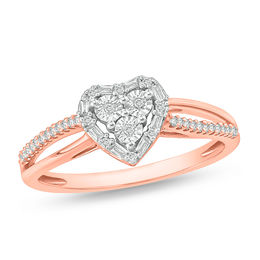 1/6 CT. T.W. Composite Diamond Art Deco Heart Frame Promise Ring in Sterling Silver with 14K Rose Gold Plate